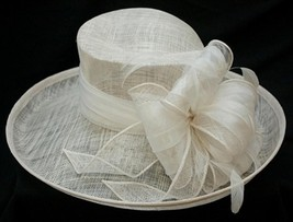 NEW Conner Hats Pure White Sinamay Ladies Church Wedding Women's Hat 4.7... - €56,27 EUR