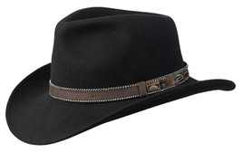 NEW Conner White Oak Outback Wool CRUSHABLE Western Cowboy Hat Black C1067 - €42,96 EUR