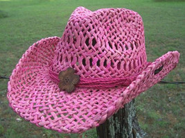 NEW Conner Women's Pink Thick Maize Straw Beach Western Cowboy Hat 1 siz... - €43,33 EUR