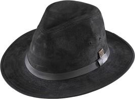 NEW Henschel Hats GENUINE SUEDE LEATHER Lined Safari Fedora Hat Black QU... - $72.95