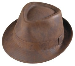 New Henschel FEDORA Faux Ultra Suede Hat Mens Satin Lining Rust Classy NWT - $47.95