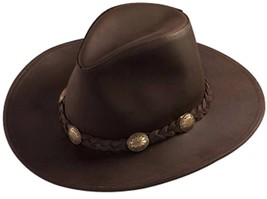 USA MADE Henschel Hat DUDE Cowhide Brown Leather Western Cowboy Hat + si... - $79.95+