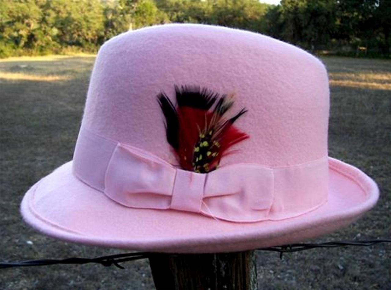 NEW PINK Homburg Fedora 100% Wool Crushable Ladies Gangster Dress Tuxedo Hat