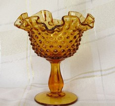 "Vintage Fenton Hobnail Glass 6"" Colonial Amber Compote - $15.50"