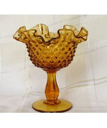 """Vintage Fenton Hobnail Glass 6"""" Colonial Amber Compote - $15.50"""