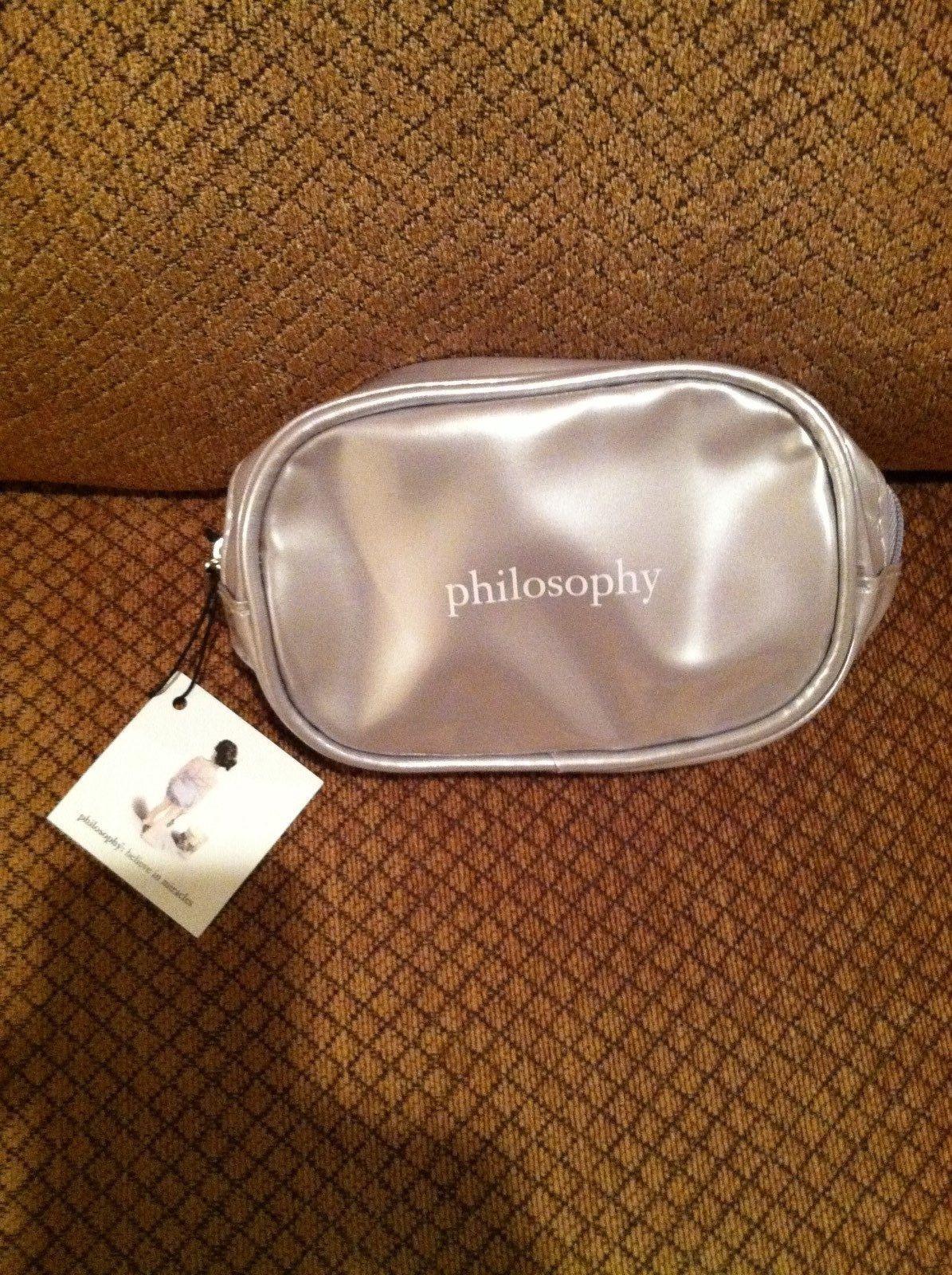 Philosophy  SILVER Zippered Makeup Small Cosmetic /Makeup Bag