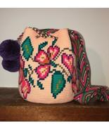 Authentic 100% Wayuu Mochila Colombian Bag Medium Size Gorgeous floral C... - $62.00