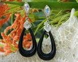 Vintage black acrylic hoop dangle earrings calla lily ab rhinestone thumb155 crop