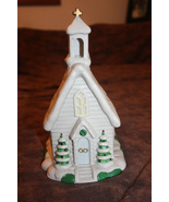 Christmas Village White Church with Green Accents - Can Light Up - $7.99