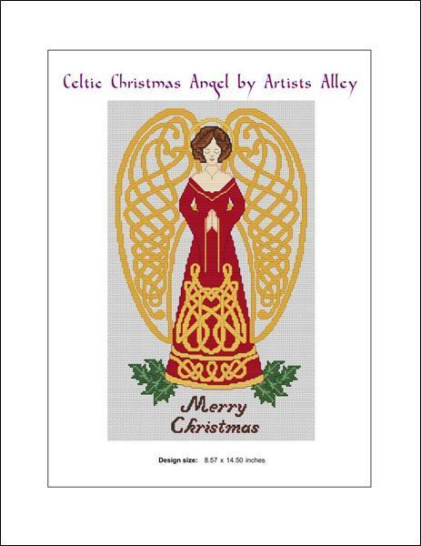 Celtic Christmas Angel cross stitch card chart Artist's Alley