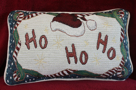 Santa Ho Ho Ho Glittery Throw Tapestry Pillow - $8.99