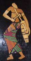 AFRICA GHANA KENTE CLOTH MALE PORTRAIT WOOD CARVED ART - $122.78