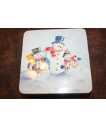 Vintage Snowman Winter Scene Blue Square Tin - $3.99