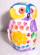 ALDO LUNDI HAND CRAFTED MULTI-COLORED OWL POTTERY ART - $84.46