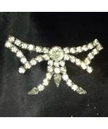 Vintage Signed Garne Jewelry Large Rhinestone Pin Brooch Stylized Bow - $18.32