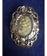 Vintage Gerry's Blue Floral Celluloid Cameo White Flowers Pin Pendant - $14.49