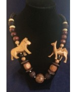 "Hand Carved Animal Vintage Fetish Necklace Camel Lion Stone Wood Bead 26"" - $24.14"