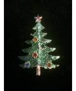 VINTAGE SIGNED BJ GOldtone Green Rhinestone CHRISTMAS TREE BROOCH PIN Rare - $19.30