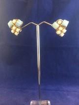 Vintage Signed Larel Milk Glass Art Glass Clip Earrings Goldtone Rare - $17.37