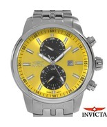 $595 INVICTA SPECIALTY CHRONO MONTH/HOUR/DATE YELLOW/BLACK STAINLESS STE... - $379.99