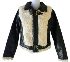 Baby Phat Size S Womens Black Crinkle Faux Leather & Faux Shearling Jacket - $55.99