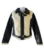 Womens Size S Black Crinkle Faux Leather & Faux Shearling Moto Jacket - $39.99