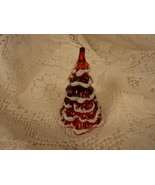 Fenton Amberina Red Glass Christmas Tree with Snow and Bow - $12.00