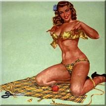 Decorative Ceramic tile 4.25 X 4.25 inches, Illustration Vintage Pinup G... - $7.00
