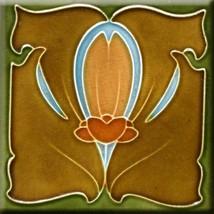 Decorative Ceramic tile 4.25 X 4.25 inch, Illustration Vintage art nouve... - $7.00