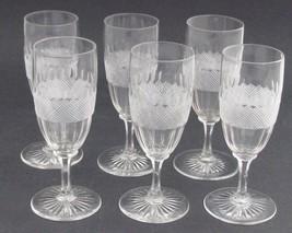 Vintage Cut Glass stems crosscut and facet 6 piece set - $54.82