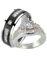 His & Hers 3 Piece Vintage Style Wedding Ring S... - $49.99