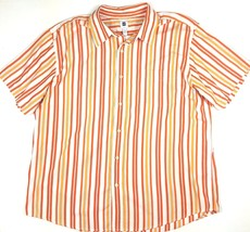 Gap Men Size XXL Orange Stripe Short Sleeve Button Down Shirt EUC 100% C... - $11.29