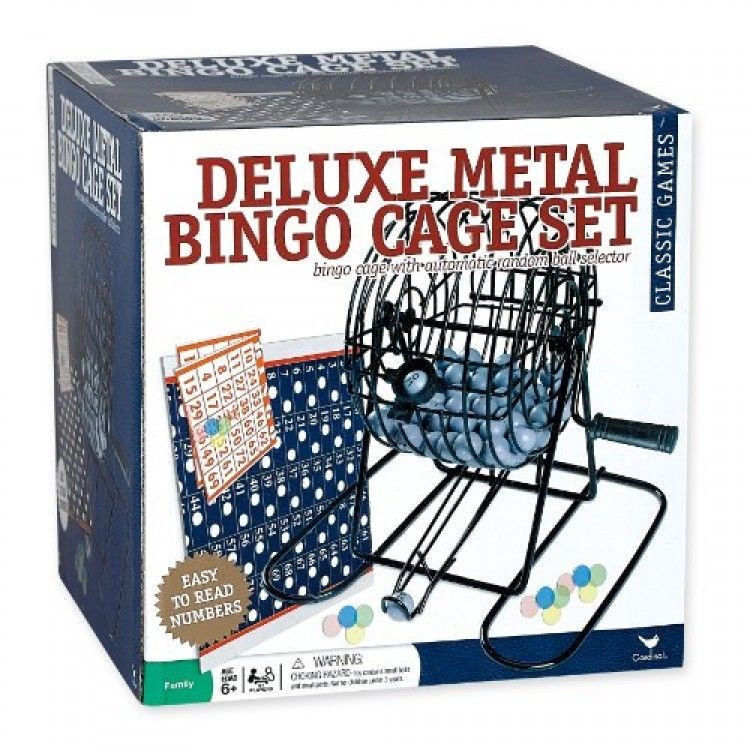 Deluxe Wire Cage Bingo Set, Game Comes with Balls, Cards, and Mixing Cage, New