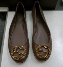 Nib 100% Auth Gucci Brown Nappa Leather Ballet Flats 36 $550 - $324.72