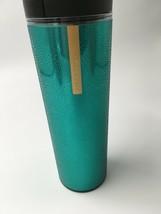 Starbucks 2013 Green Sparkle Travel Tumbler 16 oz Gold logo Bs57 - $6.79