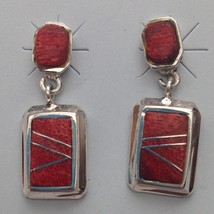 Sterling Silver Inlay Rectangle Shape Post Dangle Earrings - $39.99