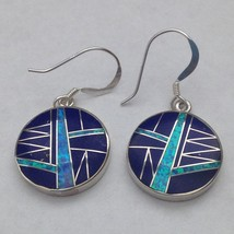Sterling Silver Inlay Round Shaped Hook Dangle Earrings - $49.99