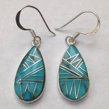 Sterling Silver Handmade Inlay Teardrop Hook Dangle Earrings - $49.99