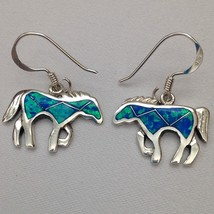 Sterling Silver Handmade Inlay Opal Stone Horse Hook Dangle Earrings - $49.99