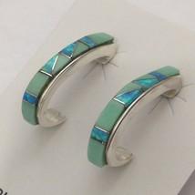 Sterling Silver Handmade Inlay Loop Shaped Post Dangle Earrings - $49.99