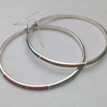 Sterling Silver Handmade Inlay Circle Hoop Hook Dangle Earrings - $79.99