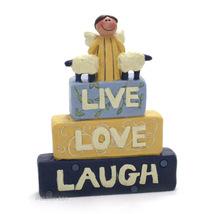 Blossom Bucket Live Love Laugh Angel & Sheep Inspirational Shelf Sitter ... - $5.99