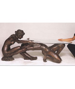 Exquisite Nude Boy & Girl Sculptural Lost Wax Bronze Table by Barbedinne - $7,400.00