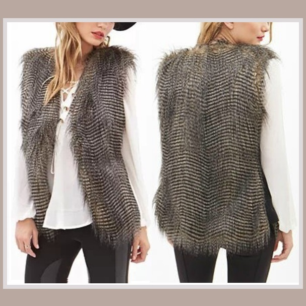 Long Sleeveless Stripe Peacock Feather Faux Fur Vest