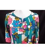 Vtg Mod Bold Flower Power Hawaiian Maxi Dress Loop Button Andrade Hawaii M - $64.35