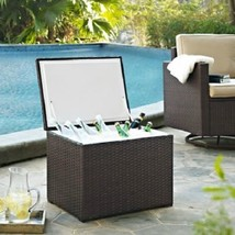 Outdoor Espresso Resin Wicker Beverage Cooler Ice Chest Insulated Pool P... - $252.40