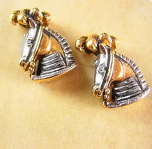 Circus Horse Cufflinks Vintage figural Horse head with Royalty Plume Dre... - $110.00