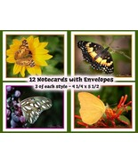 Note Cards  Butterfly Designs  Set of 12 - $12.00