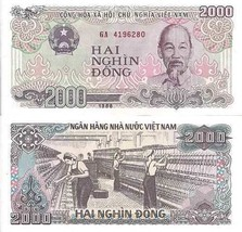 NEW AUTHENTIC PAPER MONEY VIETNAM 2000 DONG BANKNOTE MONEY - $2.00
