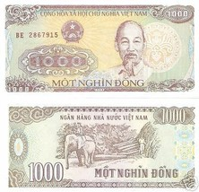NEW AUTHENTIC PAPER MONEY VIETNAM 1000 DONG BANKNOTE MONEY - $2.00